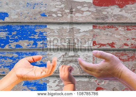 Grungy France Flag On A Wood Texture.used Requested.