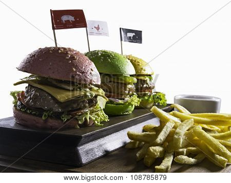 Burgers with french fries isolated