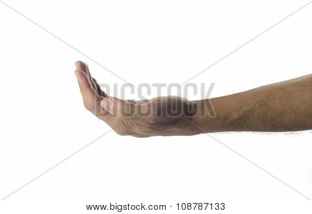 Empty human Hand on white background