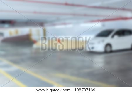 Abstract Blur Background Of Car Parking, Shallow Depth Of Focus