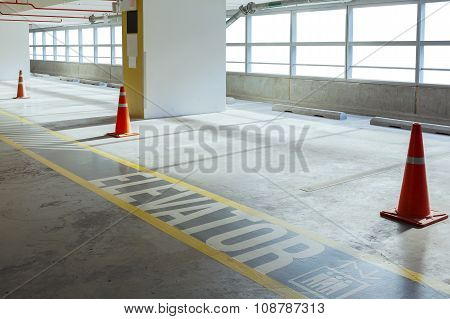 Empty Car Parking Line And Red Cone With Walk Way, Can Use As Background