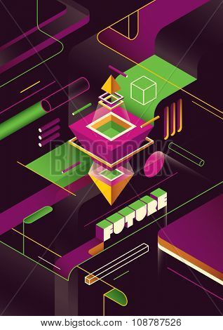 Isometric futuristic abstraction. Vector illustration.