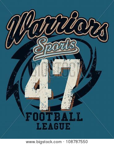 Sports Warriors Football League Distressed Print