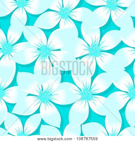 Turquoise Tropical Plumeria And Hibiscus Floral Seamless Pattern