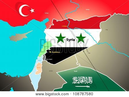 Syria Geopolitical Map With Proposed Oil Pipeline