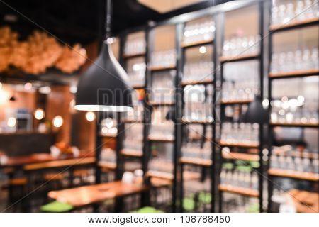 Blurred restaurant background  with vintage filter .