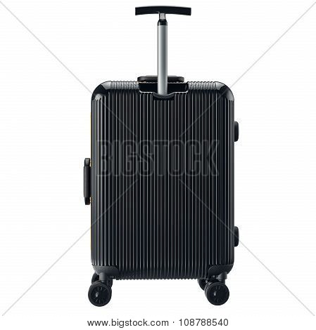 Luggage on wheels black, back view