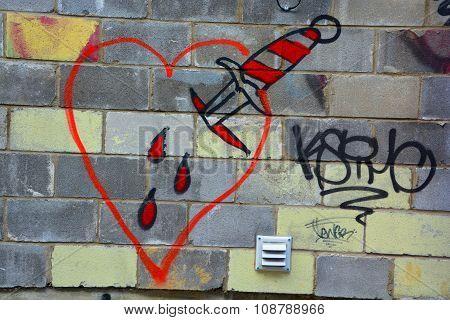 Street art bloody heart