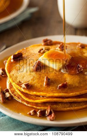 Homemade Pumpkin Pancakes With Butter