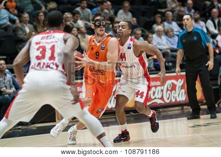 VALENCIA, SPAIN - NOVEMBER 18th: Van Rossom with ball during Eurocup between Valencia Basket Club and Sluc Nancy at Fonteta Stadium on November 18, 2015 in Valencia, Spain