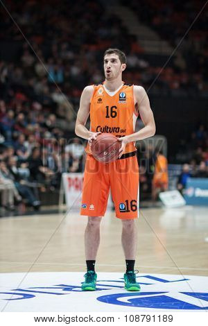 VALENCIA, SPAIN - NOVEMBER 18th: Vives during Eurocup between Valencia Basket Club and Sluc Nancy at Fonteta Stadium on November 18, 2015 in Valencia, Spain