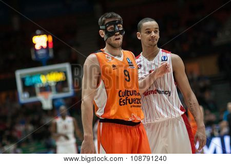 VALENCIA, SPAIN - NOVEMBER 18th: (9) Van Rossom (R) Sene during Eurocup between Valencia Basket Club and Sluc Nancy at Fonteta Stadium on November 18, 2015 in Valencia, Spain