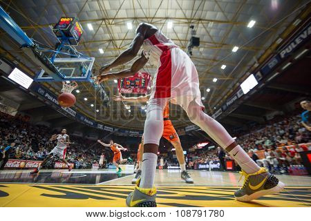 VALENCIA, SPAIN - NOVEMBER 18th: Sy during Eurocup between Valencia Basket Club and Sluc Nancy at Fonteta Stadium on November 18, 2015 in Valencia, Spain