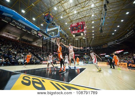 VALENCIA, SPAIN - NOVEMBER 18th: All players during Eurocup between Valencia Basket Club and Sluc Nancy at Fonteta Stadium on November 18, 2015 in Valencia, Spain