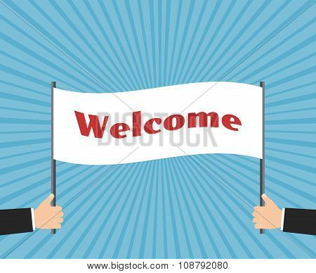 Hands of businessman holding welcome sign. Vector business concept background