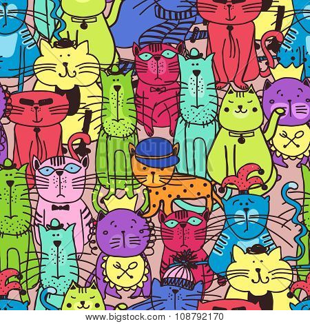 Seamless doodle cat pattern