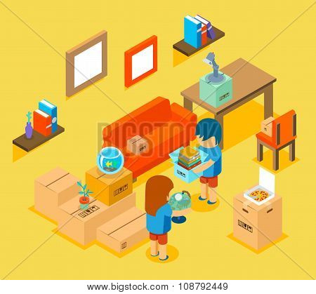 Moving into new apartment. Isometric 3d vector illustration