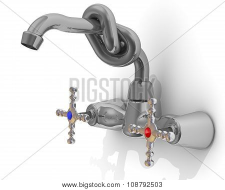 Water tap tied in knot