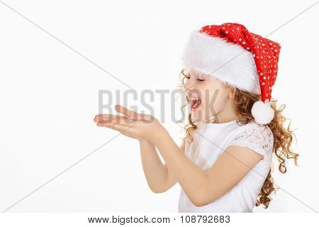 Little Girl In Santa Hat.