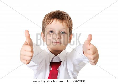 Schoolboy Showing Thumbs Up. Photo Isolated On White Background.