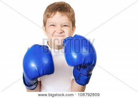 Boy In Blue Boxing Gloves, Isolated On White Background.