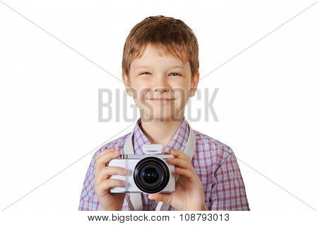 Cute Boy With Camera Isolated In White Background.
