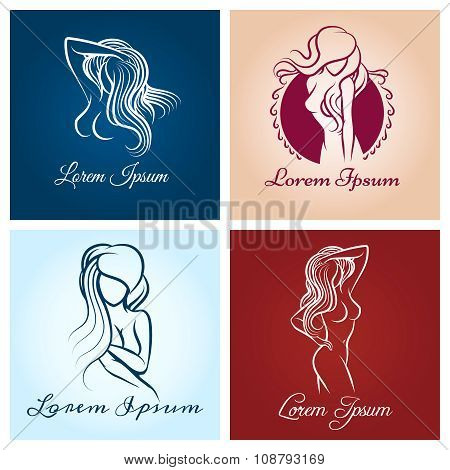 Beautiful woman abstract logo