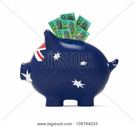 Piggy Bank with Australian Dollar