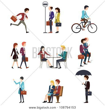 Business people in urban outdoor activity. Vector men and women characters set