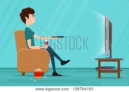 Man watching television on armchair. Vector flat illustration