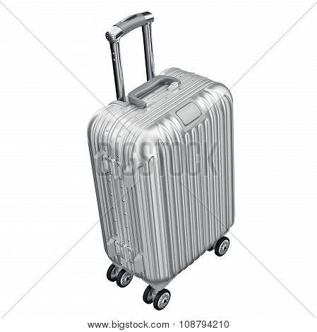 Silver luggage on wheels