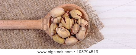 Pistachio Nuts With Spoon On White Wooden Table, Healthy Eating