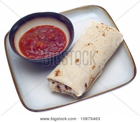 Delicious Burrito With Salsa
