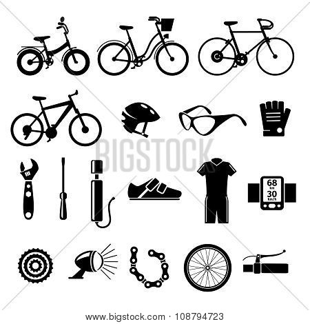 Bicycle, bike vector icons set