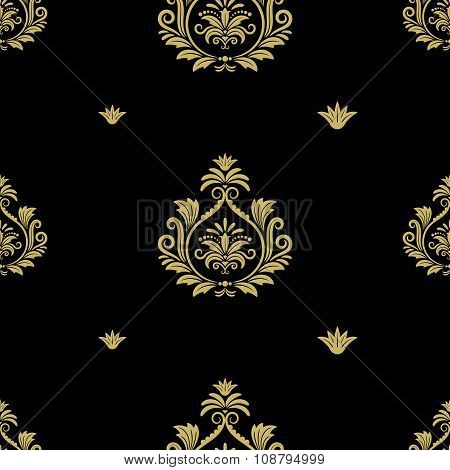 Seamless abstract black and gold classic pattern