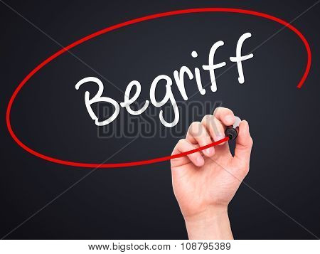 Man Hand writing Begriff (Terms in German) with black marker on visual screen. Background black