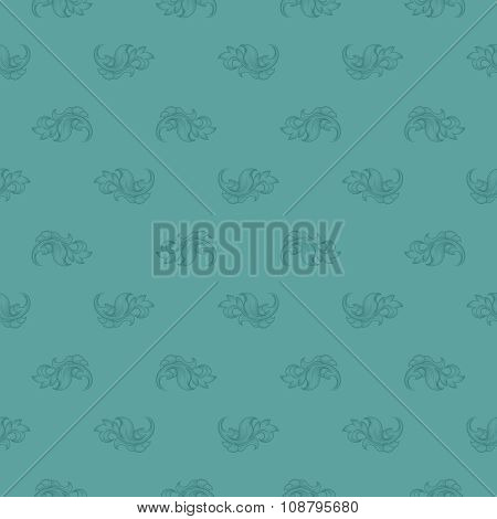 Seamless blue leaf retro pattern