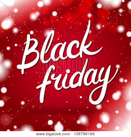 Black Friday Card With Red Winter Background