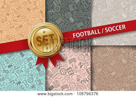 Set of football backgrounds with doodle icons in different colors