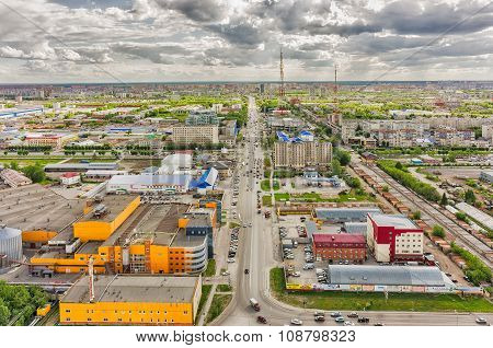 Permyakova street with TV tower. Tyumen. Russia