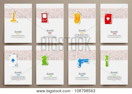 Corporate identity vector templates set with doodles gaming theme