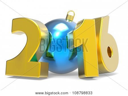 New 2016 year concept image with decoration ball isolated on white background.