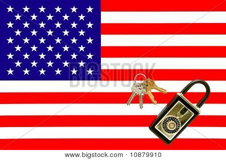 American Real Estate With Keys Lock Box And American Flag