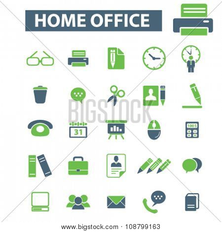 home office, supplies, time management  icons, signs vector concept set for infographics, mobile, website, application