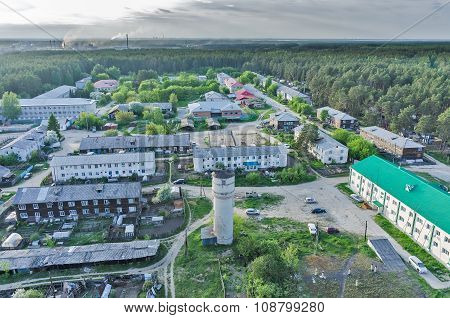 Bird eye view of housing estate in Vinzili. Russia