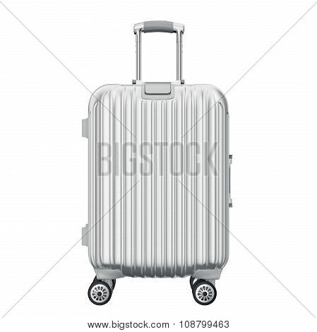 Silver suitcase for travel, front view