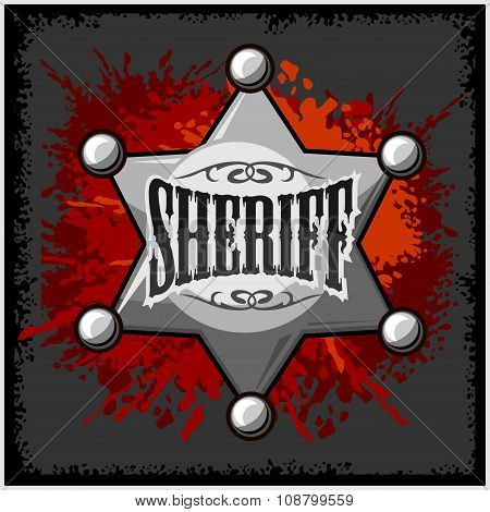 Silver sheriff star badge vector illustration on grunge background