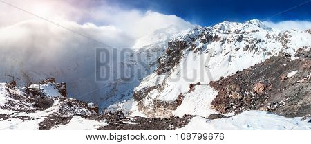 Panorama Of Snow-covered Mountains