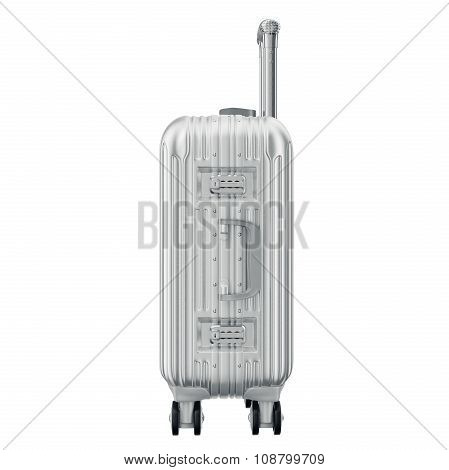 Metal luggage silver, side view