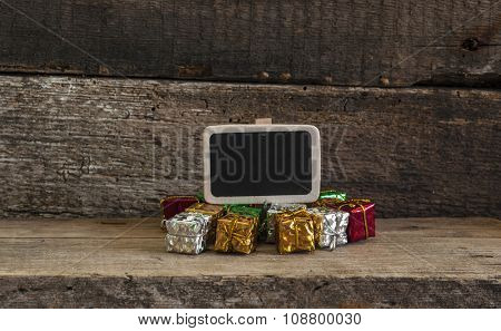 Christmas decorations and ornament on wooden background.